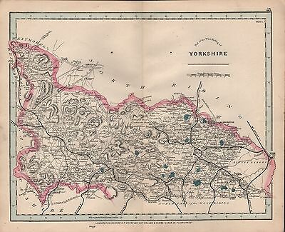 1875 Antique Cruchley County Map Railways, Stations Yorkshire West, Part Skipton