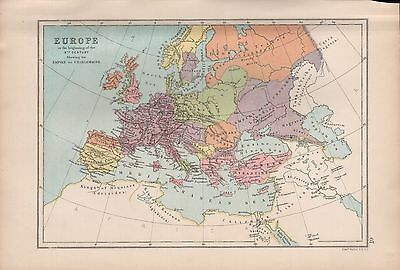 1875 Antique Map - Europe In The Beginning Of The 9Th Century, Empire Of Charlem