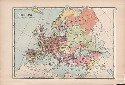 1875 Antique Map - Europe In The Latter Part Of The 10Th Century