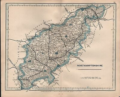 1875 Antique Cruchley County Map Railways, Stations Northamptonshire Oundle Stam
