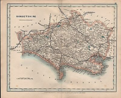 1875 Antique Cruchley County Map Railways, Stations Dorsetshire Poole Weymouth