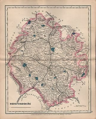 1875 Antique Cruchley County Map Railways, Stations Herefordshire Hay Bromyard