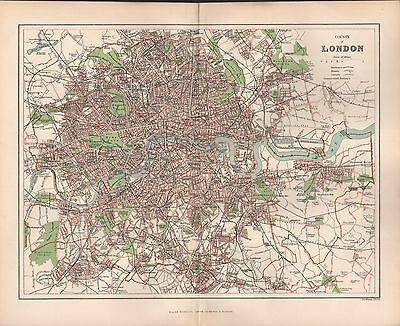 1895 Antique Town Plan - County Of London