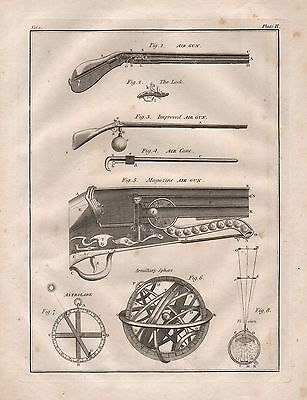 1815 Antique Science Print-Air Guns, Armillary Sphere