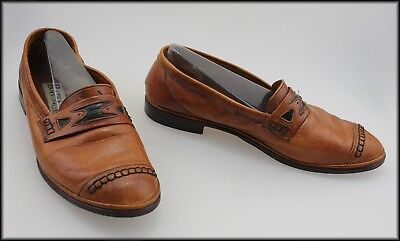 Batsanis Mens Vintage Leather Loafers Casual Shoes Size 9.5, 44