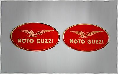 Moto Guzzi V9 Roamer Griso 1200 Bobber Red Gold Gel Domed Tank Gas Badge Decals
