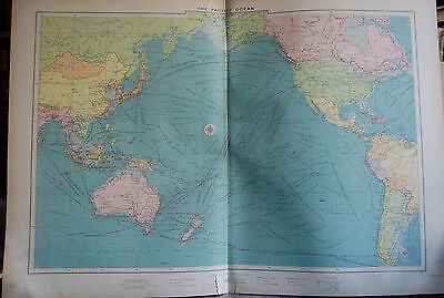 1915  Large Antique Mercantile Map - The Pacific Ocean