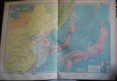 1915  Large Antique Mercantile Map - Chinese And Japanese Ports