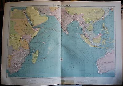 1915  Large Antique Mercantile Map - The Indian Ocean, Africa,india,australia