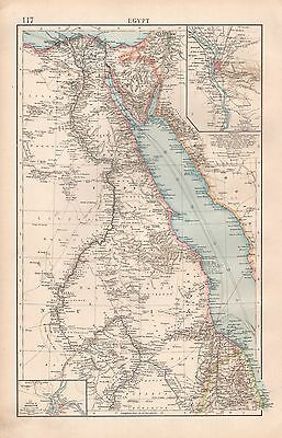 """1900 """"times""""  Large Antique Map - Egypt Red Sea, Environs Of Cairo, Khartoum"""