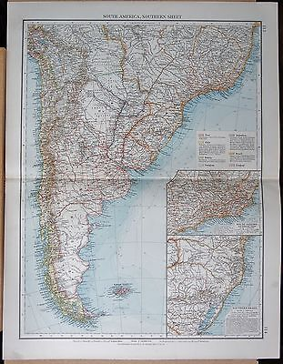 "1900 ""times""  Large Antique Map - South America Southern Sheet, Inset Rio,"