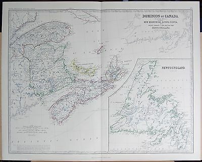 1875 Extra Large Antique Map - Dominion Of Canada, New Brunswick, Nova Scotia,