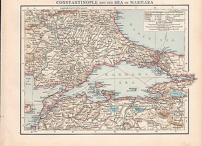 "1900 ""Times""  Large Antique Map - Constantinople And The Sea Of Marmara"
