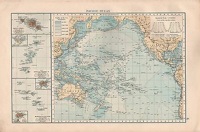 "1900 ""times""  Large Antique Map - Pacific Ocean, Depths, Cables Insets Of Island"