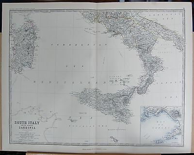 1875 Extra Large Antique Map - Italy South And Sardinia, Inset Bay Of Naples