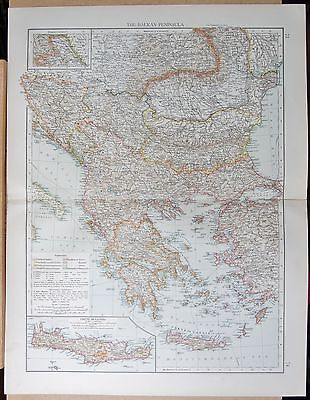 "1900 ""times""  Large Antique Map - The Balkan Peninsula, Inset Crete"