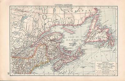 "1900 ""times""  Large Antique Map - Canada Eastern, Newfoundland, Nova Scotia"