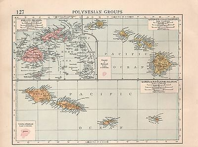 "1900 ""times""  Large Antique Map - Polynesian Groups, Samoan, Sandwich, Fiji Isla"