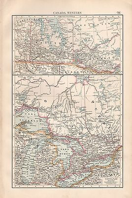 "1900 ""times""  Large Antique Map - Canada Western, Manitoba, Great Lakes"