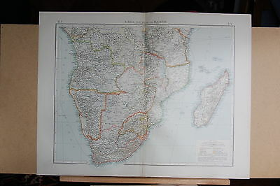 "1900 ""times""  Large Antique Map - Africa South Of The Equator Madagascar"