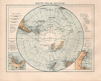 "1900 ""times""  Large Antique Map - South Polar Regions"