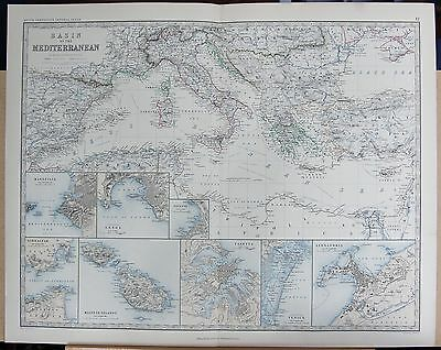 1875 Extra Large Antique Map - Basin Of The Mediterranean, 8 Insets, See Descrip