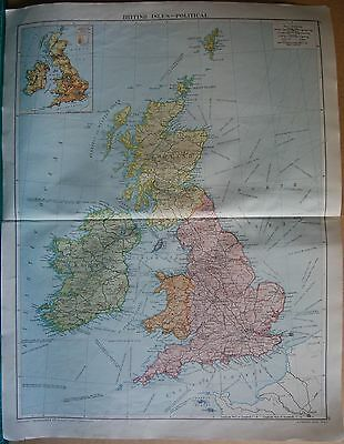 1919 Large Map- British Isles, Political, Steamer Routes,railways,canals