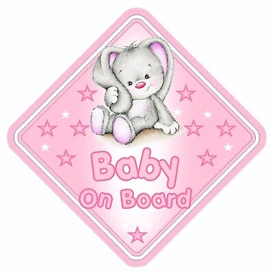 Rabbit Baby On Board Car Window Sign Non Personalised - Pink