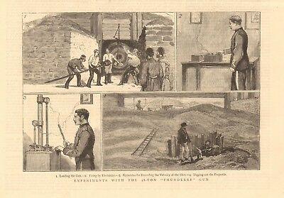 """1880 Antique Print - Experiments With The 38 Ton """"thunderer"""""""