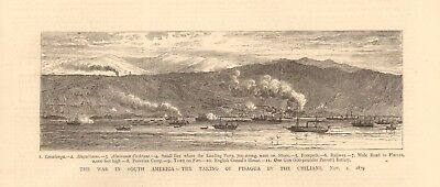 1880 Antique Print - War In South America-Taking Of Pisagua By Chilians