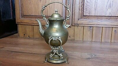 Antique Vintage Brass [? ] Kettle Teapot & Stand & Warmer
