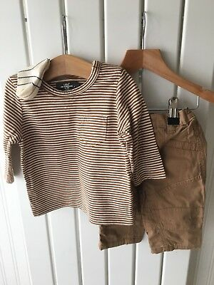 Baby Boy's Clothes 3-6 Months - 3pc Outfit -Striped Top & Trousers Inc Socks