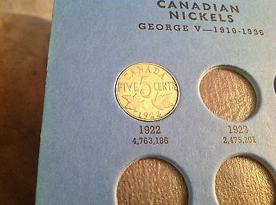 1922 Canadian Five Cent, Canada Nickel