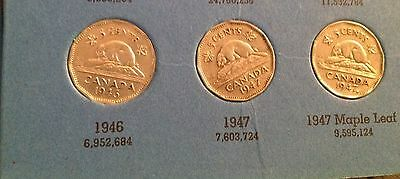1946, 1947, 1947 Maple Leaf Canadian Five Cents, Canada Nickel