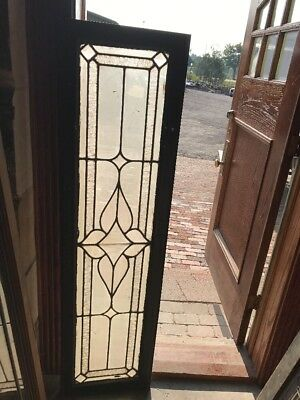 Sg 1535 Antique Textured And Beveled Glass Transom Window 16.25 X 60.25