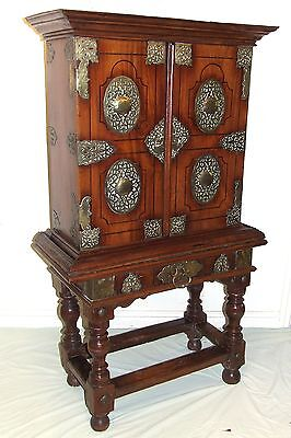 Antique Anglo Indian Fruitwood & Ebony Inlay & Brass Fittings Cabinet on Stand