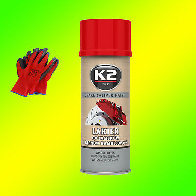 K2 BRAKE CALIPER PAINT Bremssattel Lack Spray 400ml Rot +Gratis Handschuhe