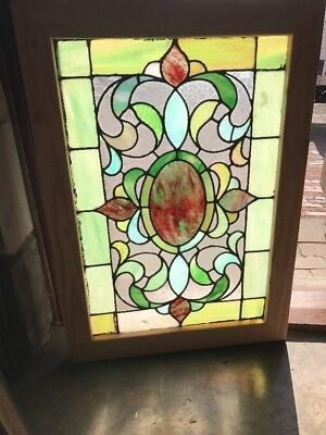 Sg 1542 Gorgeous Antique Stainglass Landing Window 25 X 35