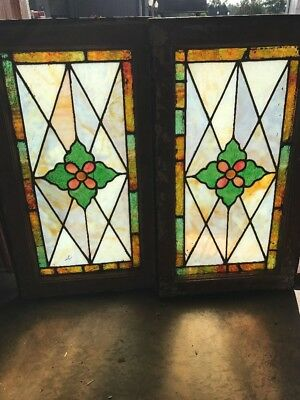 Sg 1543 Match Pair Antique Stainglass Windows 16.5 X 28.5