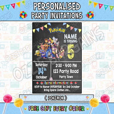 POKEMON / 1 Personalised Birthday Party Invitations / Invites Party Supplies