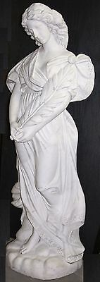 Italian Carrara Hand Carved Marble Life size Woman with Flowing Hair and Gown