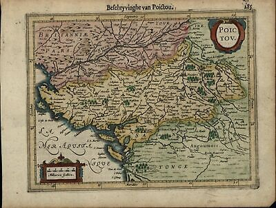 Poitou Poictou Western France Bay of Biscay c.1628 Mercator minor old map