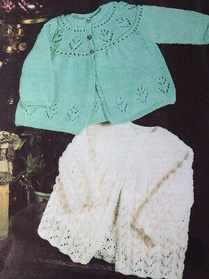 Knitting Pattern For Baby's Matinee Coats In Double Knit Size 16-20in See Det