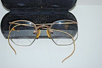 73be1b089d2f Antique Vintage Wire Rim OCTAGON 12KF Gold Reading BiFocal Eyeglasses w/  Case