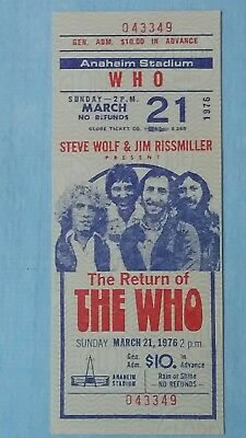 1976 The Who Unused Concert Ticket Anaheiem Calafornia