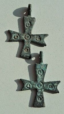 2 x Ancient Byzantine Bronze Cross Pendant. 34mm. / 4,00gr.