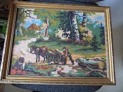 HAND MADE WOOLEN Tapestry Framed Picture - Country Scene - In the ...
