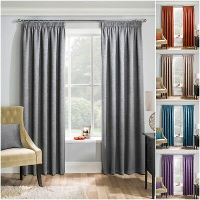 Semi Plain Textured Woven Thermal Block Out Lined Pencil Pleat Tape Top Curtains