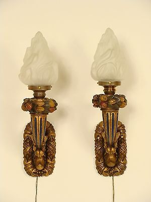 Pair of baroque style wall sconces.