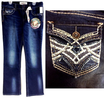 Hydraulic blue regular embroidered studded shimmer slim boot jeans 2 4 6 8 10 12